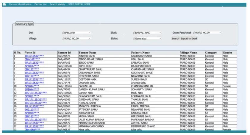 Check AGRISNET Odisha State Farmers List