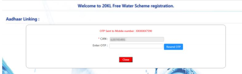 Procedure to Link Aadhar with CAN for MSB/Colonies Connections