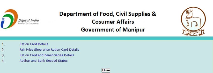 Check Fair Shop Wise Ration Card Details Manipur