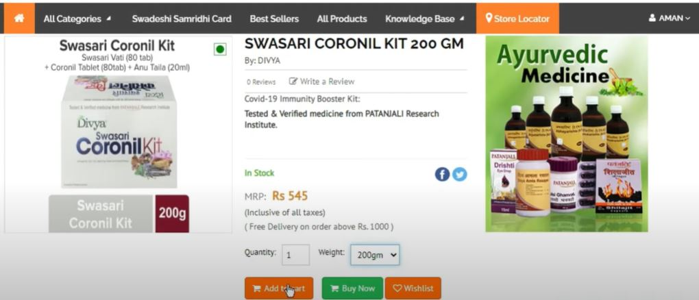 Step by Step Guide to Order Coronil Kit Online