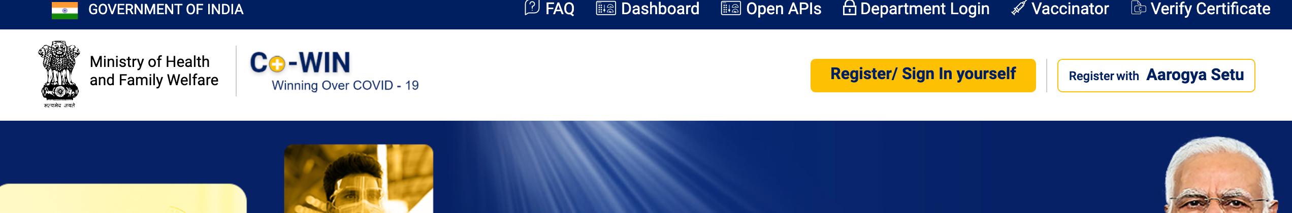 cowin gov in registration login