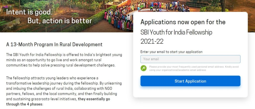 Apply  Online for Youth for India Fellowship Scheme