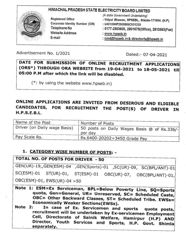 एचपीएसईबी चालक भर्ती आधिकारिक अधिसूचना पीडीएफ