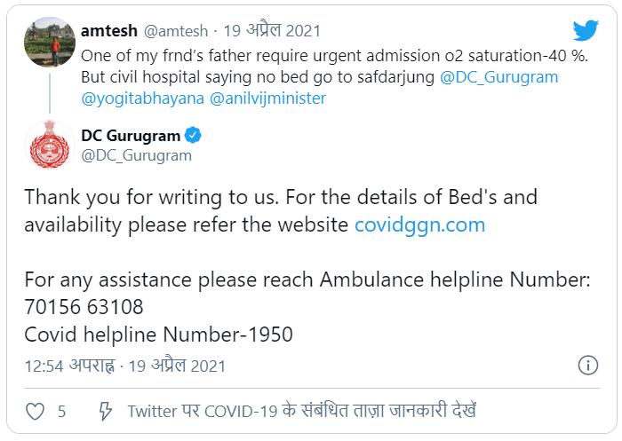 Gurugram Covid 19 Helpline Numbers