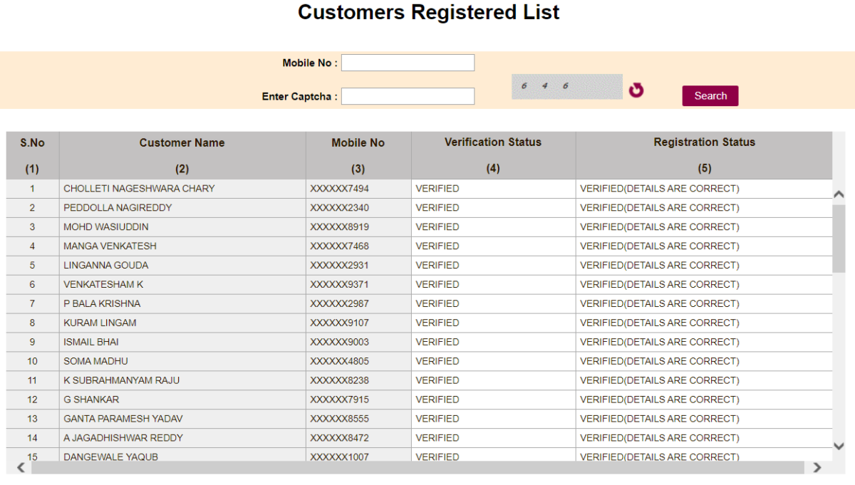 Check the Customers Registered List Online