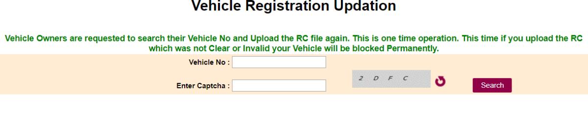 Vehicle Registration Updation Process
