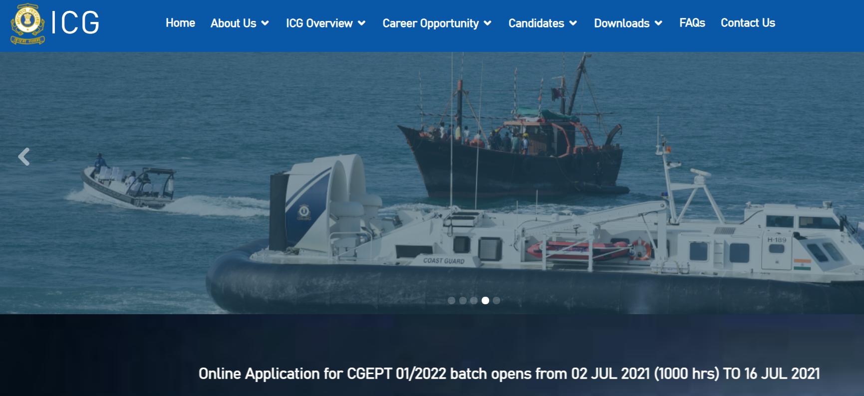 Indian Coast Guard Recruitment 2021 | Apply Online for 350 Navik, Yantrik Vacancy, Notification PDF