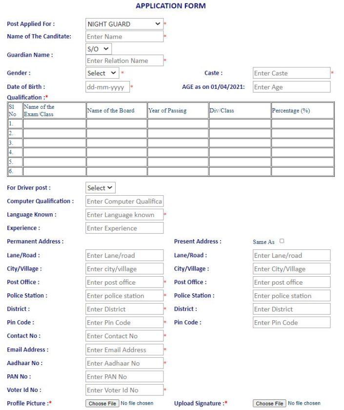 Tapsil Jati Adibasi Praktan Sainik  Application Form
