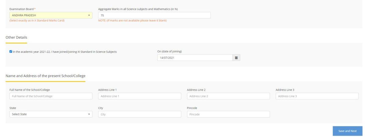 KVPY Online Registration Form