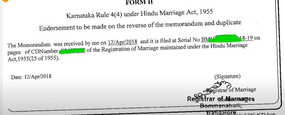 Karnataka Marriage Certificate PDF