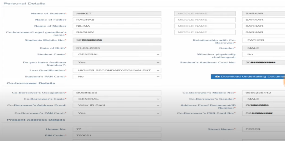 WB Student Credit Card Application Form