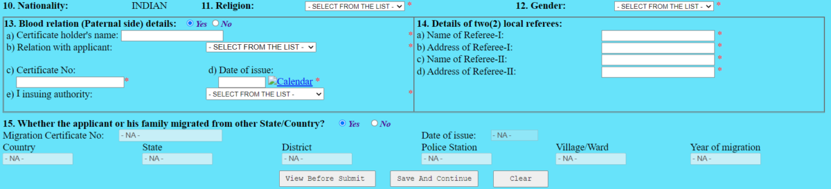 wb caste certificate application form
