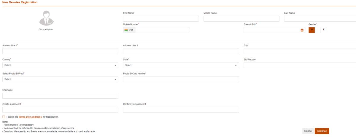 Shri Sai Shirdi Darshan New User RegistrationForm