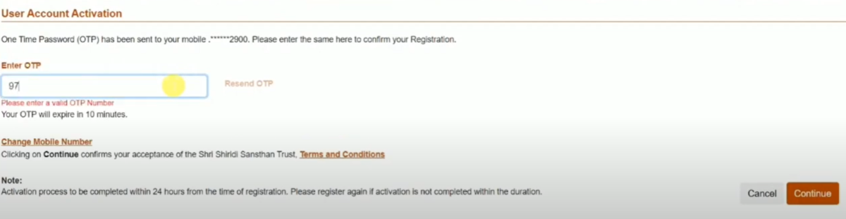 Shri Sai Shirdi Darshan New User Registration