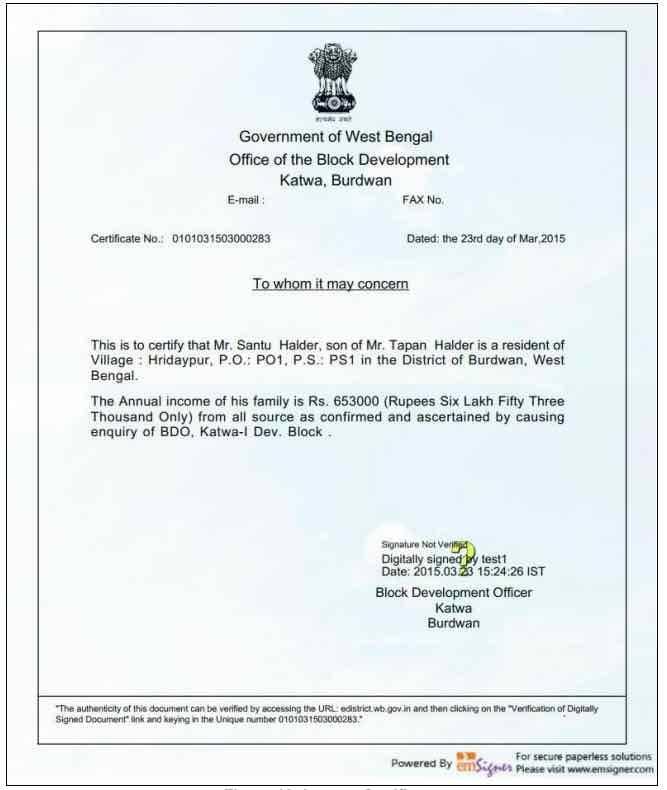 Apply WB BDO Income Certificate