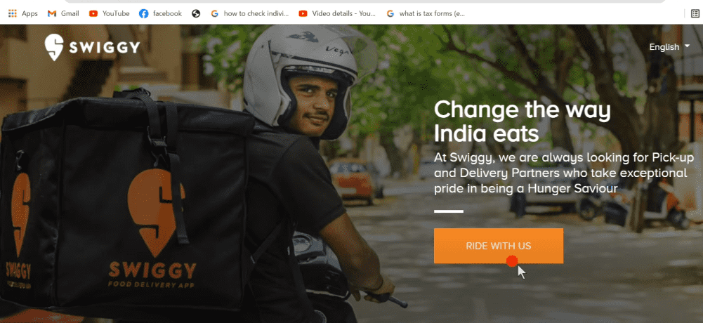 Apply Online for Ride With Swiggy Pickup & Delivery Boy Jobs