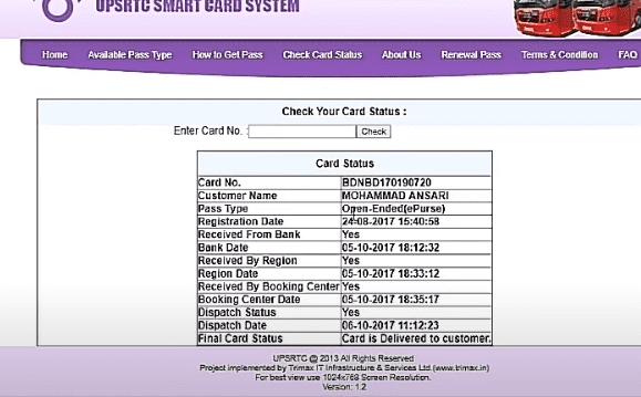 Apply Online for UPSRTC Smart Card