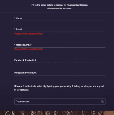 Roadies X9 Online Form