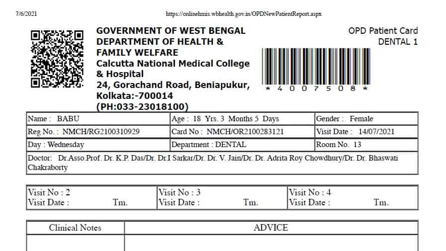 West Bengal Health OPD Ticket Booking Online Process