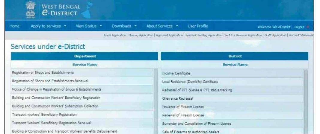 Apply for WB BDO Income Certificate Online
