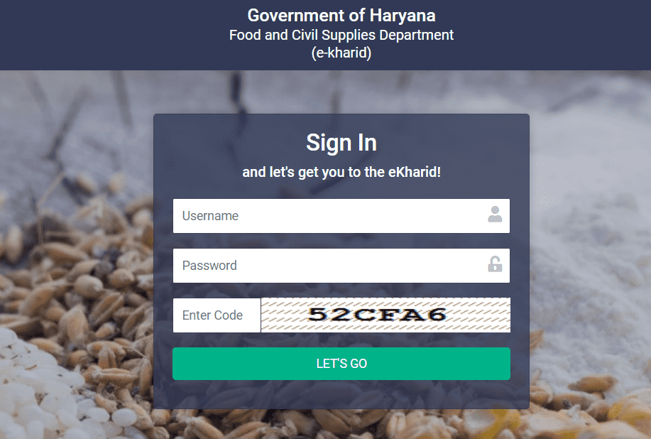 Procedure to Login on the E Kharid Haryana Portal