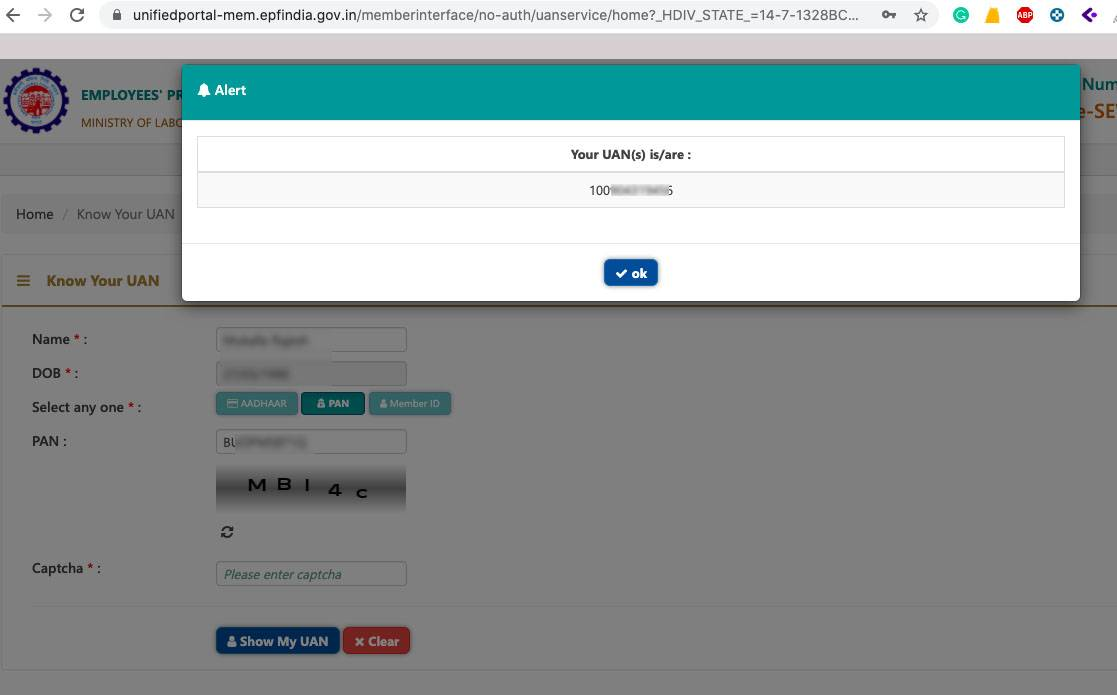 Recover Forgot or Lost EPFO UAN Online