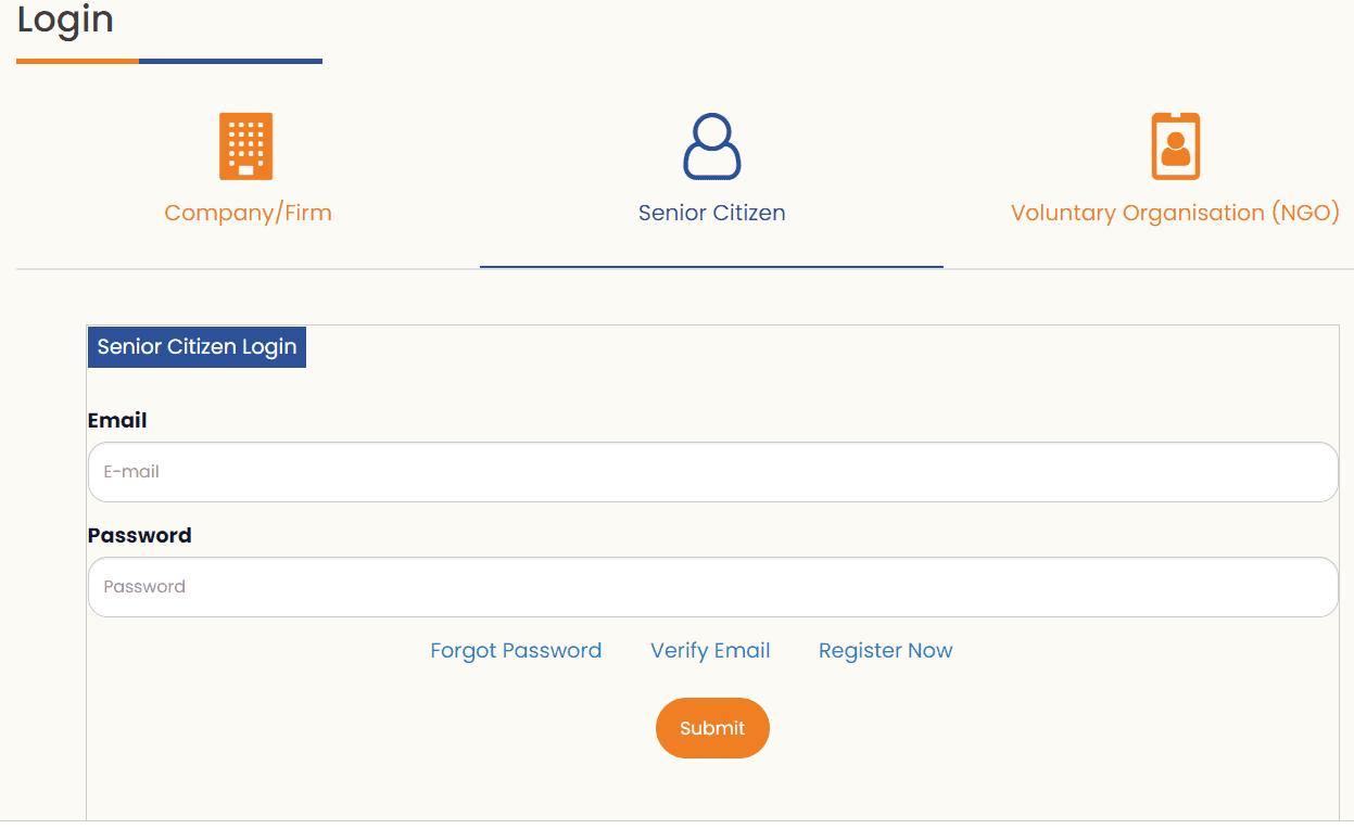 SACRED Senior Citizen Portal Login